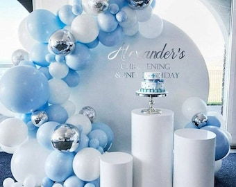 141Pcs Blue Balloon Arch Kit | Blue Silver White Balloons | Silver 4D Foil Balloons | Metal Balloon Garland | for Boy Baby Shower.