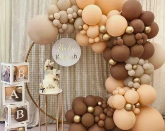 Brown Cream Balloon Arch   Balloons Garland   Birthday   Baby Shower Decor   Bridal Shower  Women Party   Adult Party   Engagement.