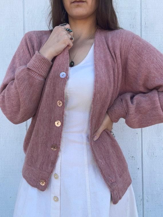 Vintage Dusty Pink Cardigan Sweater - image 2