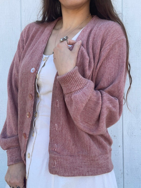 Vintage Dusty Pink Cardigan Sweater - image 3
