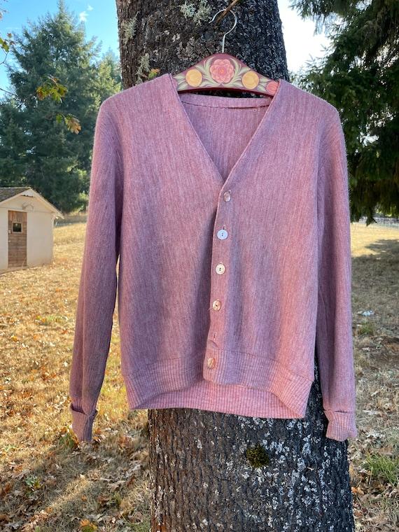 Vintage Dusty Pink Cardigan Sweater - image 4