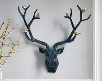 Christmas Moose Head Wall Mounted Decoration Animal Bust Indoor Resin Sculpture