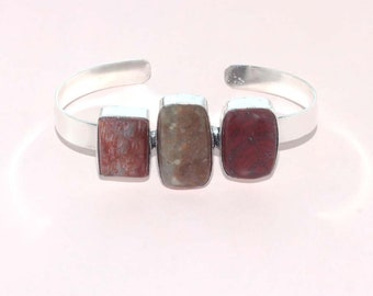 A-652 Agate & 925 Sterling Silver Plated Handmade Adjustable Bangle Gemstone Jewelry