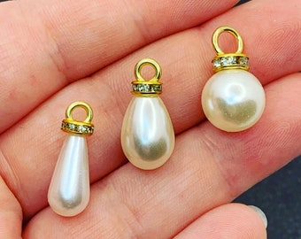 Bracelet Pearl Beads MLS293 8x11mm 24k Shiny Gold Pearl Charms White Round Pearls Gold Frame Pearl Drop Beads Gold Plated Findings