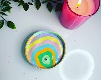 pastel rainbow incense holder /  trinket dish (or ash tray) - Easter drop
