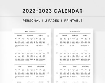 Printable 2022-2023 Calendar Template Personal Insert l Printable Yearly Overview, 2022 2023 Year Calendar, Yearly Agenda, Year at a Glance
