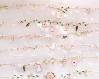 Reverse Carved Resin Cherry Blossom Vintage Retro Cuff Bracelet Bangle Stack x 2 PASTEL SAKURA