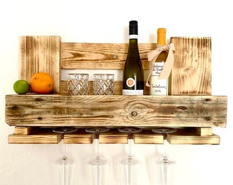 Wine rack made of pallets wood Wandeko flambéed gift upcycling ( 6 wine glasses! )
