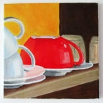 Cup Stack Original Acrylic Painting - free shipping