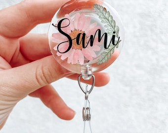 ID Badge Reel - Pink Daisy with greenery