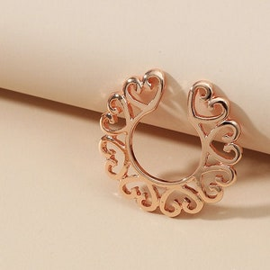 Non Piercing Clamps Non Piercing Twisted Non piercing Hoop Non Piercing Ring Fake Pressure Nipple piercing gold plated wire Nipple Jewelry