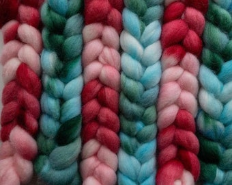 Hand Dyed Perendale combed top roving