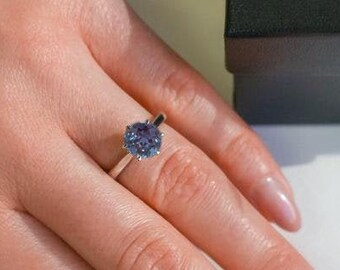 Alexandrite Ring, Round 7.00mm Alexandrite Engagement Ring, Solitaire Ring, June Birthstone Ring, Beautiful Round Alex Stone Ring For Women