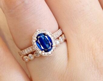 Blue Sapphire Engagement Ring Set, Halo Wedding Ring Set, Art deco Proposal Ring Set For Women, Ring With Matching Band, Milgrain Ring