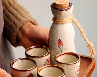 Hand Blown Ceramic 6 Pieces Sake Set   Japanese Hand Painted Lotus Flower Sake Set   Sake Tray   Elegant Drinker Gift   Handmade In Japan