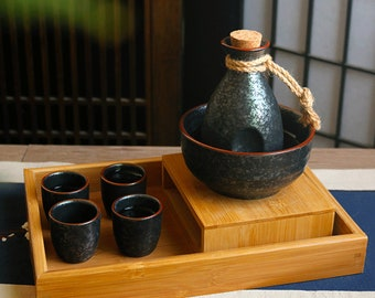 Hand Blown Ceramic 5 Pieces Sake Set   Japanese Hand Painted Black Sake Set   Sake Tray   Ceramic Sake Bottle   Beautifully Hand Crafted  