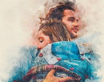 Custom watercolour painting, Custom portrait from photo, Custom couple portrait, Personalized portrait, Anniversary Gift, Canvas Print