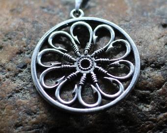 Fishhook flower pendant. Fisherman amulet. Hook flower. Pendant of fishhook symbolic flower. Hook flower fishing symbol amulet pendant.
