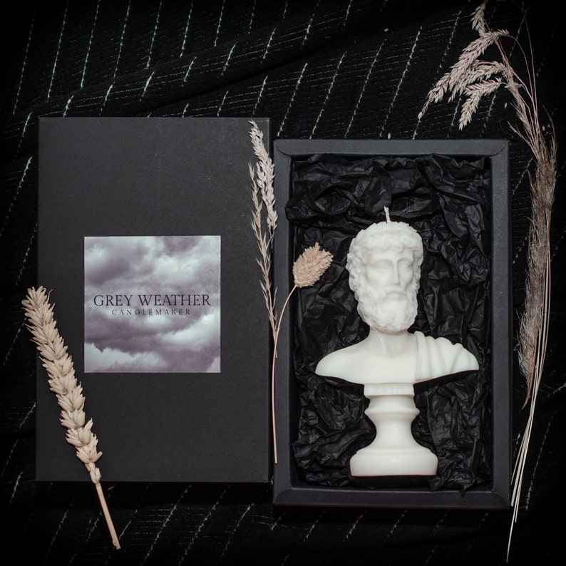 Luxurious Bust Pillar Candles Gift Home Decor Soy Wax Vegan Made in the UK Lavender Scented Candle 15cm Large Zeus Sculpture