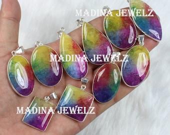 Purple Solar Quartz Bib Necklace Statement Necklace large Gemstone Pendant Multi Gemstone Necklace