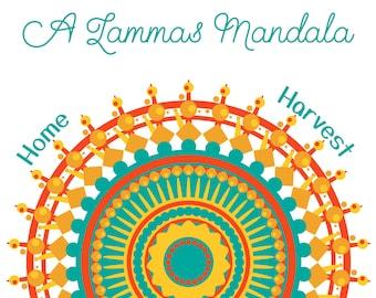 A Lammas Mandala - downloadable tarot spread - Lughnasadh - summer - card layout - journal - grimoire page - book of shadows - harvest
