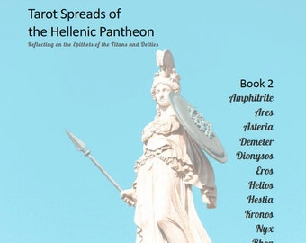 BOOK 2 - 12 MORE Tarot Spreads - Greek Gods & Goddesses - Titans - Downloadable Journal Grimoire Pages - Hellenic Pantheon - Card Layout