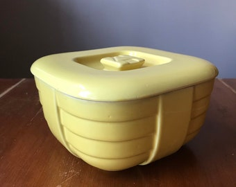 The Hall China Co Covered Dish Yellow Hotpoint Refrigerator Container 1930s Kitchen
