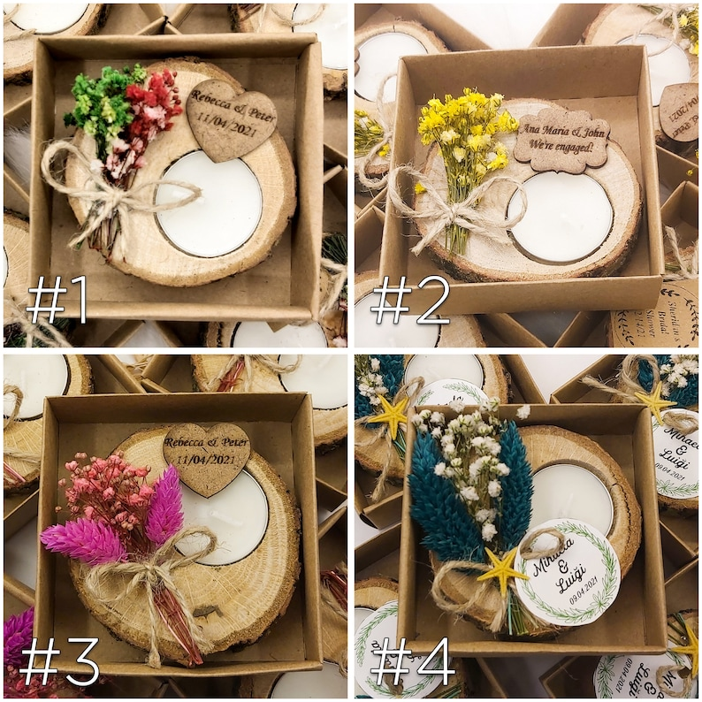 Wooden Favors personalized candle Unique Treats rustic tealight holder bridal showers Personalized Wedding showers Bridesmaid gifts
