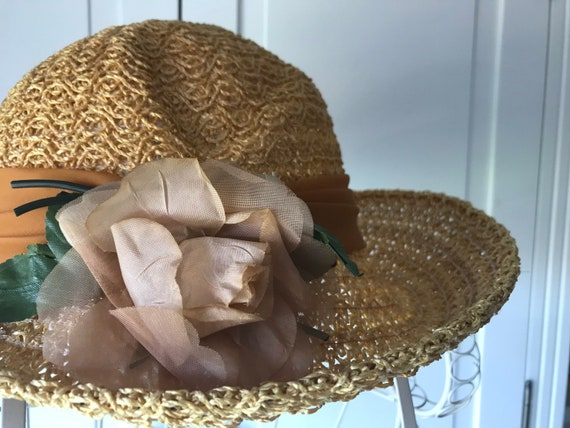 50s straw summer hat with rose - image 2