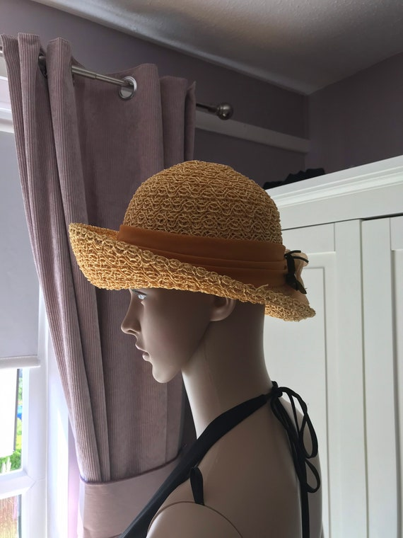 50s straw summer hat with rose - image 4