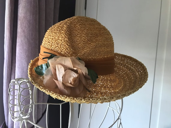 50s straw summer hat with rose - image 7