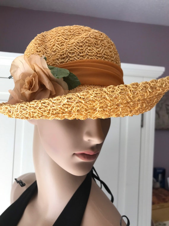 50s straw summer hat with rose - image 1