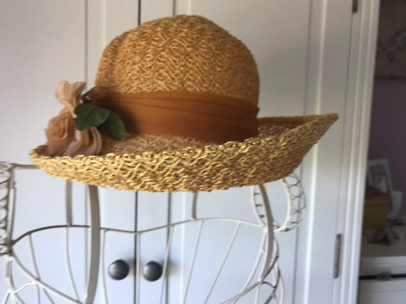 50s straw summer hat with rose - image 5