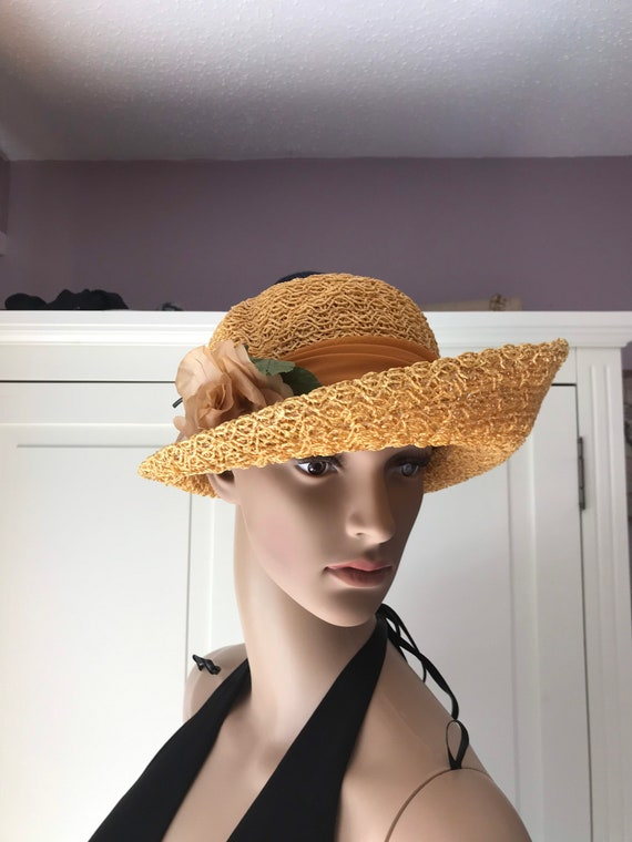 50s straw summer hat with rose - image 6
