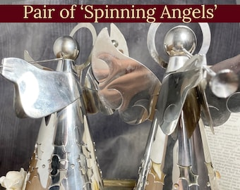 Silver Musical Angels | Pair of Beautiful Angels Spinning To Silent Night As Their Music Boxes Play | Incredible Holiday Decor For Your Home