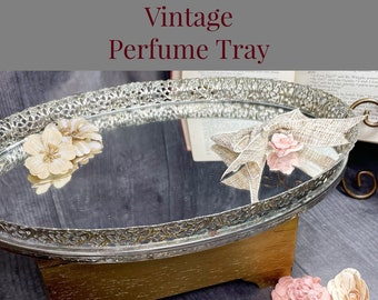 Vintage Perfume Tray | Vanity Accessory | Decorative Silver Plated Mirror Tray For Perfumes, Makeup, Ring Boxes & Anything Else