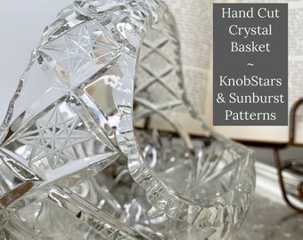 Crystal Basket   America Brilliant Period   Hand Cut Crystal Basket   This Beautiful Piece Is Perfect For Your Wedding or Home For Holidays!
