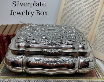 Vintage Jewelry Box   Silverplated Large Jewelry Box   Perfectly Designed With Down Feather Under Red Felt. Perfect To Maintain Your Jewels.
