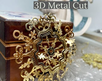 Set Of 2 Gold 3D Metal Cut Christmas Ornaments | Holiday Decor | Christmas Decoration | Beautiful Golden Snowflake & Angel