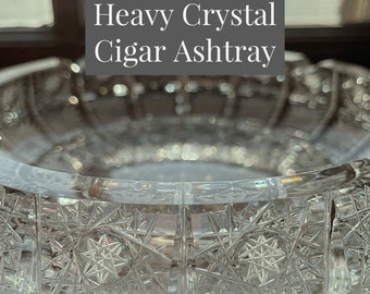 Bohemian Czech Crystal Ashtray | Hand Cut Crystal, Designed in style of Queen's Lace, Elegant, Brilliant | Heavy Cigar Ashtray