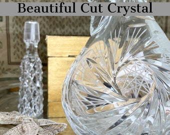 Cut Crystal Decanter with Handle and Topper   Tall Decanter for Wine, Liqueur, Spirits   This Rare Find Is In Excellent Condition, Vintage