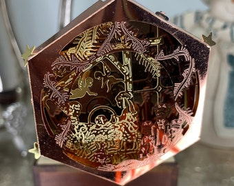 Nativity Scene   3D Golden & Copper Metal Ornament   Laser Cut Holiday Ornaments   Great Window Decorations   3-D Christmas Ornaments