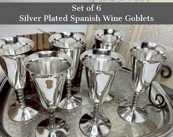 Wine Goblets   Silver Plate Wine Glasses   Beautiful Vintage Barware To Host Holiday Parties, Housewarming Celebrations, Favorite Wines