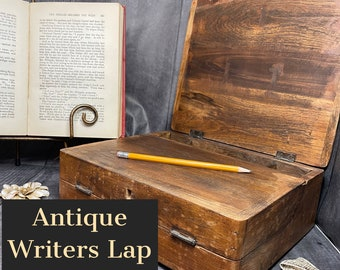 Antique Writers Lap Desk | Original Carry Around Desk | Early American Writing Tools | This Amazing Piece Folds Into A Case & Holds Inkwells