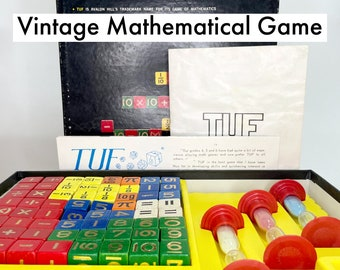 Vintage Board Game   from the 1960s, TUF is a Mathematical Board Game For All Ages   This Set is as Complete as it was in the store in 1969