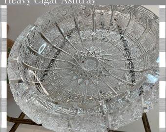 A.B.P. Ashtray   Hand Cut Crystal, Designed in Tiffany Lace, Elegant, Brilliant   Heavy Cigar Ashtray