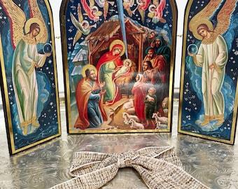 Russian Nativity Triptych Icon   Vintage Russian   Beautiful Spiritual Gift   Infant Jesus, Joseph, Mary, Shepherds & Angels In Bethlehem