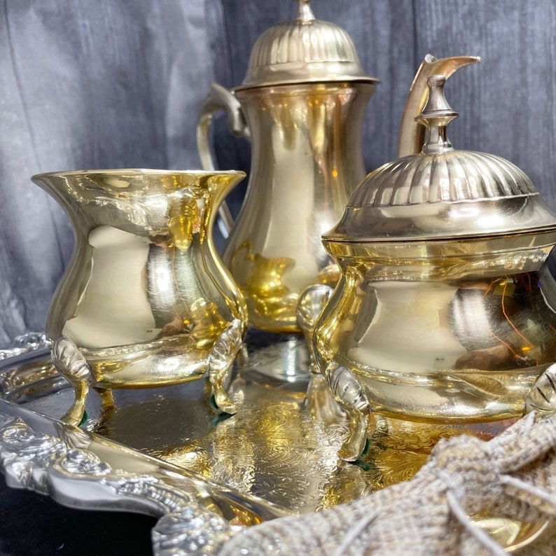 Brass Tea Set with Silver Serving Tray  Beautifully Restored image 1