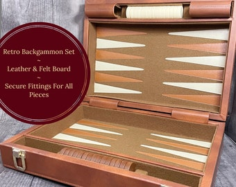Retro Backgammon Set | Wrapped in a Fine Faux Leather Small Briefcase | Original Markers and Dice | Leather & Felt Game Board | Perfect Gift