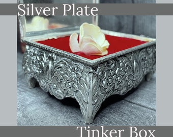 Silver Jewelry  Box, Engraved Beautifully with Red Felt Lining. A Unique and Classy Way To Present a Gift or Hold Your Keepsakes.